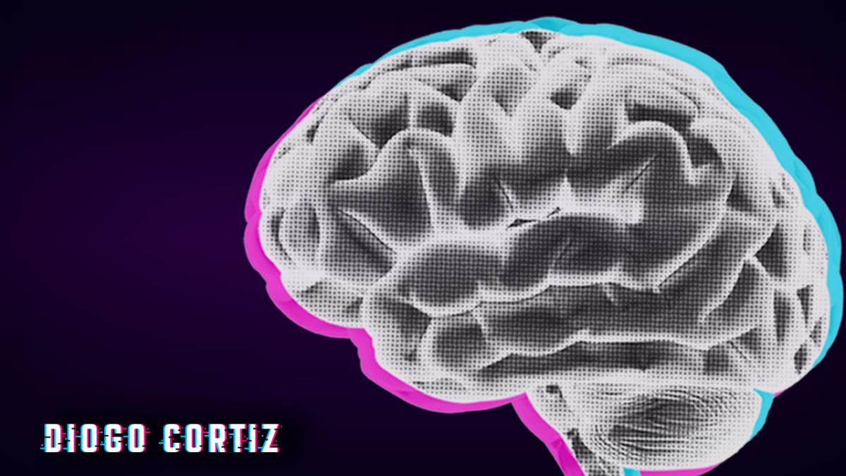 identidade visual do Curso Gratuito de Inteligência Artificial. Um cérebro em um fundo escuro.