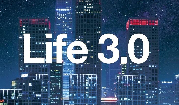 imagem com uma cidade ao fundo e uma frase escrita Life 3.0